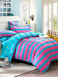 Pink and blue striped 100% Cotton Bedclothes 4pcs Bedding Set Queen Size Duvet Cover Set good qulity