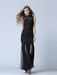 Formal Evening Dress Trumpet / Mermaid High Neck Ankle-length Lace / Tulle with Beading / Lace / Split Front
