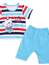 Girl's Blue Clothing Set,Stripes / Cartoon Cotton Summer
