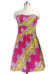 Women's Sexy Strapless Print Swing Beach Dress