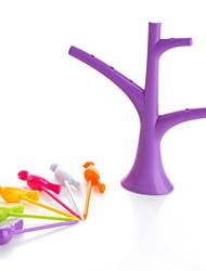 Creative Party Home Decor Bird Fruit Snack Dessert Forks Tree Shape Holder Rack Random Color