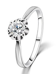 2016 Engagement Ring Flower Real 18K Platinum Plated Micro Inlay AAA Zircon Fashion Rings