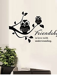 Owl Stand On Flower Tree And Friendship Quote Vinyl Wall Stickers  Adesivo De Parede Wall Art Decals Home Decoration