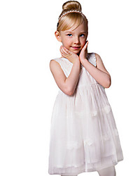 Girl's White Dress,Ruffle Cotton Summer / Spring
