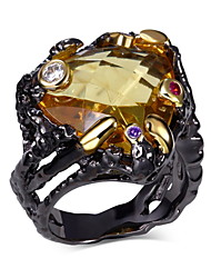 New Arrival Jewelry Black Gold Plated Main Topaz Multi Cubic Zirconia Lead Free Evening cocktail ring