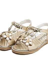 Girls' Shoes Outdoor / Casual Leatherette Summer Peep Toe / Gladiator / Sandals Flat Heel Crystal / Applique / RivetPink / Gold /