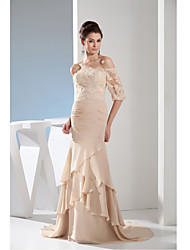 Formal Evening Dress-Champagne Trumpet/Mermaid Bateau Court Train Chiffon