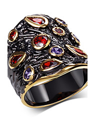 Statement Rings AAA Cubic Zirconia Zircon Cubic Zirconia Copper Gold Plated Fashion Gold-Black JewelryWedding Party Halloween Daily