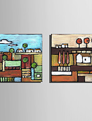Mini Size E-HOME Oil painting Modern Small Village Pure Hand Draw Frameless Decorative Painting