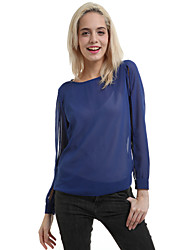 Ronde hals-Polyester / Overige / KatoenmixenVrouwen-Blouse-Lange mouw