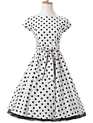 50s Era Vintage Style Cap Sleeves Rockabilly Dress Cosplay Costume White Black Polka Dot (with Petticoat)