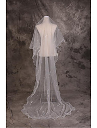Wedding Veil One-tier Cathedral Veils Cut Edge Tulle Beige
