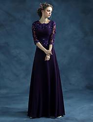 Formal Evening Dress A-line Jewel Floor-length Chiffon / Satin