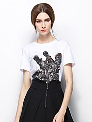 Zishangbaili® Femme Col Arrondi Manche Courtes Shirt et Chemisier Blanc-TX1505