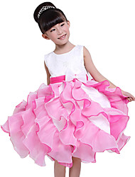 Girl's Cotton Summer Lace Mesh Gauze Embroidery Bubble Skirt Princess Formal Dress