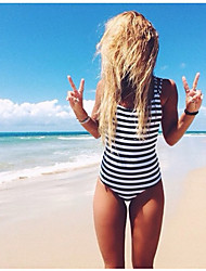 Stylish Piece Bikini Swimsuit Black Stripes