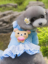 Dog Dress Blue / Pink Dog Clothes Summer / Spring/Fall Bear Fashion