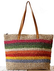 Women Straw Shopper Tote-White / Beige