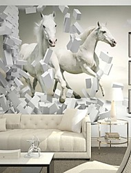 Contemporary 3D Shinny Leather Effect Large Mural Wallpaper White Horse Art Wall Decor