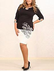 Mulheres Bandagem Vestido,Casual / Tamanhos Grandes Simples Estampado Decote Redondo Acima do Joelho Manga ¾ Preto Poliéster Verão