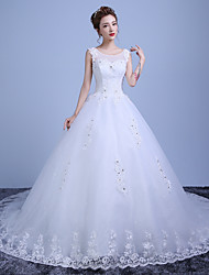 Ball Gown Wedding Dress Floral Lace Chapel Train Scoop Lace Satin Tulle with Beading Lace