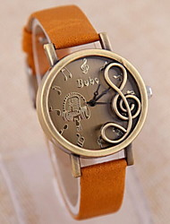 Women's Fashionable Leisure Retro Music Notation Watch Leather Band Cool Watches Unique Watches