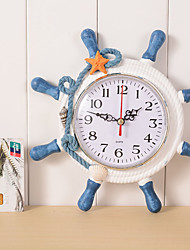 Wooden Wall Clock Retro Fashion Wall Clock Alarm Clock The Mediterranean-style Home Decoration