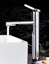 Contemporary Deck Mounted Single Handle One Hole in Chrome Bathroom Sink Faucet