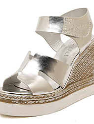 Women's Shoes Leatherette Wedge Heel Wedges / Heels Sandals Outdoor / Casual White / Silver