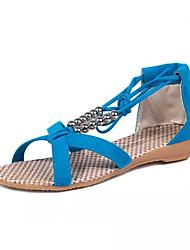 Zapatos de mujer-Tacón Bajo-Comfort / Punta Abierta-Sandalias-Exterior / Vestido / Casual-PU-Negro / Azul / Beige