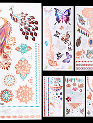 6pcs Cinnamon Silver Gold Animal Totem Colorful Temporary Flash Metallic Tattoos Sticker Waterproof