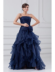 A-Line Strapless Sweep / Brush Train Organza Formal Evening Dress with Ruffles Side Draping