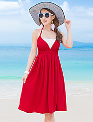 Women's Simple / Boho Solid A Line Dress,Halter Mini Polyester