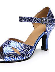 Customizable Women's Dance Shoes Latin Leatherette Stiletto Heel Blue