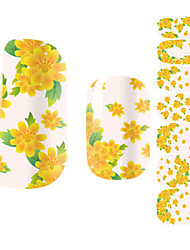 Fashion Beautiful Chrysanthemum Yellow Flower Nail Decal Art Sticker Gel Polish Manicure
