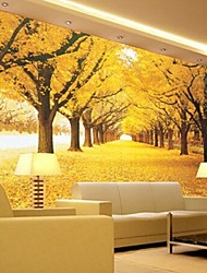 Contemporary 3D Shinny Leather Effect Large Mural Wallpaper Yellow Forest Art Wall Decor for Tv Sofa Background Wall