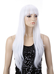 Capless White Color Long High Quality Natural Straight Hair Synthetic Wigs