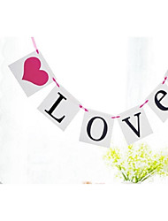Love with Hot Pink Heart Banner Bunting Wedding Birthday Engagement Party Props