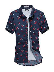 Men's Fashion Cherry Print Slim Fit Short Sleeve Shirt, Cotton / Polyester/ Casual / Plus Sizes /Print