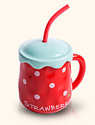 Creative Cute Strawberry Style Drinking Straw Ceramic Mug Cup