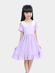 Girl's Purple / White / Yellow Dress,Lace Polyester Summer / Spring