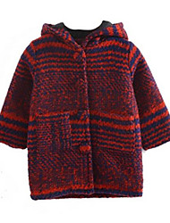Girl's Red Jacket & Coat,Stripes Cotton Winter