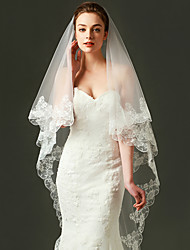 Wedding Veil One-tier Fingertip Veils Applique Edge