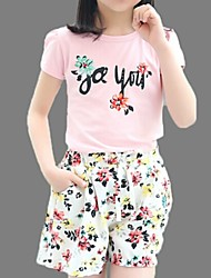 Girl's Pink / White Clothing Set,Floral Cotton Summer