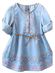 Girl's Blue Dress,Floral Cotton Spring / Fall