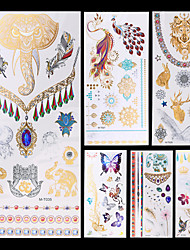 6 Tattoo Aufkleber Schmuck Serie Tier Serie Blumen Serie Totem Serie AndereNon Toxic Muster Halloween Glitzer Kristall Hawaiian Unterer