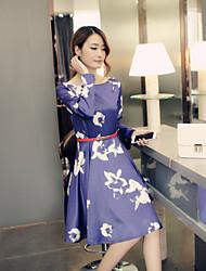 Women's Vintage Floral Sheath Dress,Round Neck Knee-length Polyester