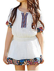 Short Sleeve Flared Cute Girls Dress