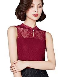 Summer Plus Size Women's Lace Stand Collar Splicing Sleeveless Slim Vest Casual Joker Tops