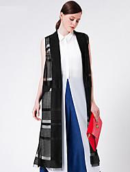Goelia® Women's Shirt Collar Sleeveless Jackets Black-165W6A070